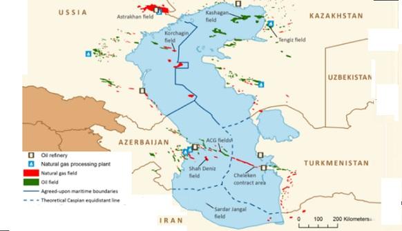 карта каспийское море