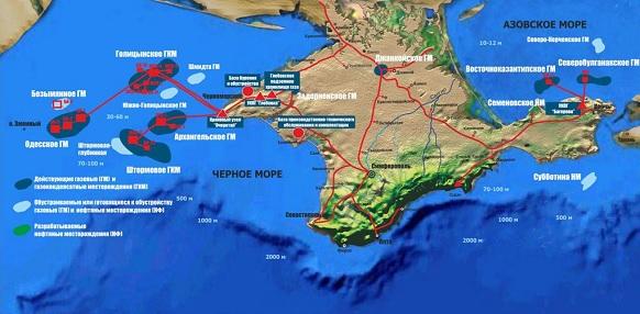 Основные запасы нефти и газа в Черном море сосредоточены на шельфе Крыма