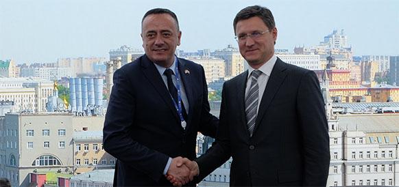 Министр горнорудного дела и энергетики Республики Сербия Александр Антич и министр энергетики РФ Александр Новак