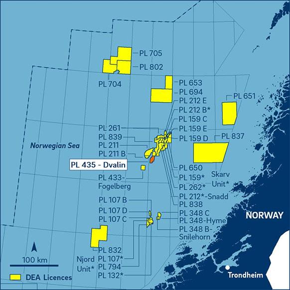 DEA, Норвегия, Норвежское море, лицензии