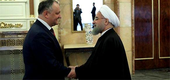 Президент Молдовы Игорь Додон и президент Ирана Хасан Рухани