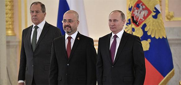 Вручение верительной грамоты посла Ирака в РФ Хайдара Мансура Хади президенту РФ Владимиру Путину