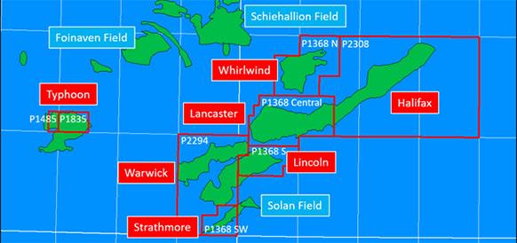 Блоки Halifax и Lancaster на шельфе Шетланских островов