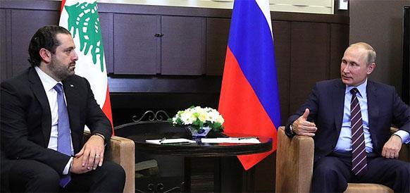 Председатель Совета министров Ливана Саад Харири и президент РФ Владимир Путин
