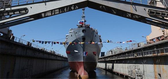 Спуск на воду среднего разведывательного корабля Иван Хурс
