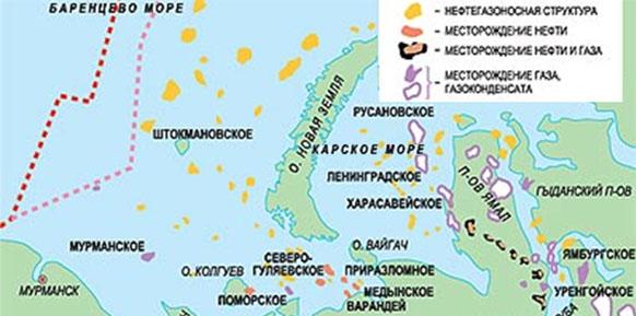 Месторождения нефти и газа на шельфе Карского моря