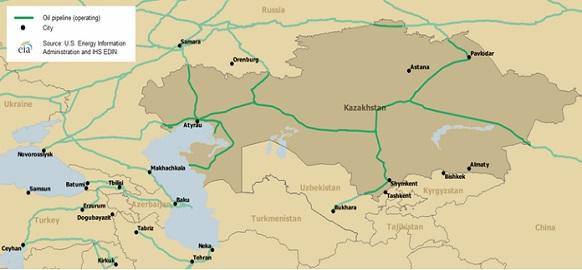 Основные экспортные нефтепроводы Казахстана