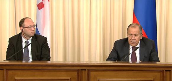 Министр иностранных и европейских дел Республики Хорватии Давор Штир и министр иностранных дел РФ Сергей Лавров