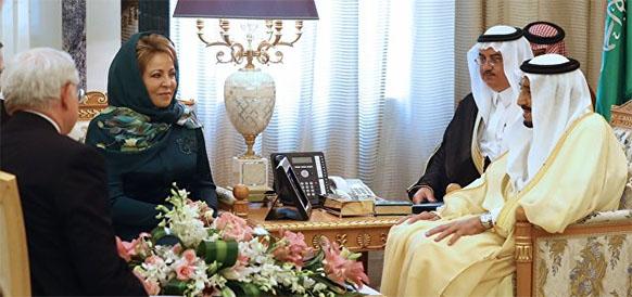 Спикер Совета Федерации РФ Валентина Матвиенко и король Саудовской Аравии Сальман Бен Абдель Азиз Аль-Сауд