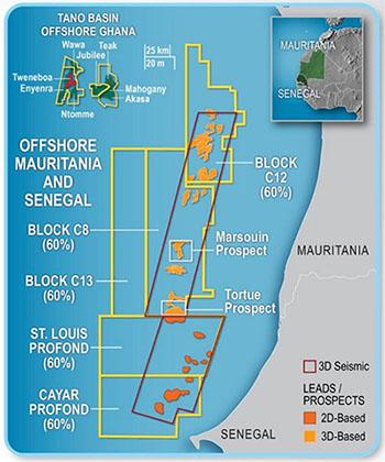 участки недр на шельфе Мавритании и Сенегала