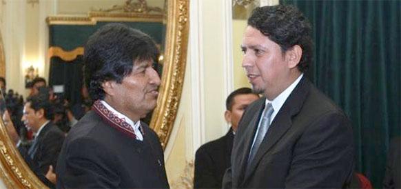 Президент Боливии Эво Моралес и временный глава YPFB Оскар Баррига