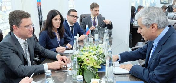 Министр энергетики РФ Александр Новак и генеральный секретарь ФСЭГ Сейед Мохаммад Хуссейн Адели