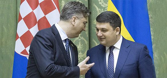 Премьер-министр Хорватии Андрей Пленкович и премьер-министр Украины Владимир Гройсман
