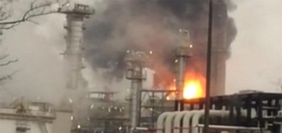 Пожар на НПЗ Eni в г Саннадзаро-де-Бургунди в Италии 5 февраля 2017 г