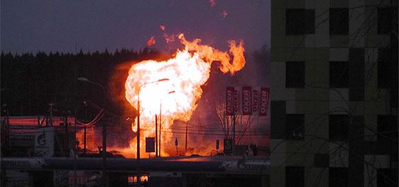 Пожар на газопроводе в Гатчине