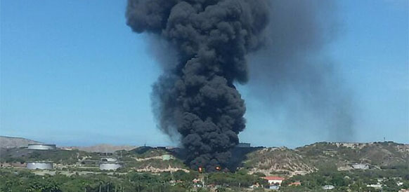 Пожар на НПЗ PDVSA в Пуэрто-ла-Крус в Венесуэле