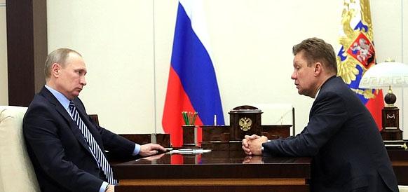 Президент РФ Владимир Путин и глава Газпрома А. Миллер