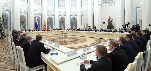 встреча президента РФ Владимира Путина с представителями российских деловых кругов