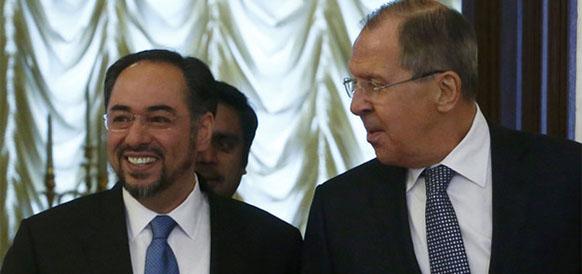 Министр иностранных дел Афганистана Салахуддин Раббани и министр иностранных дел РФ Сергей Лавров