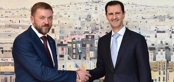 Депутат Госдумы РФ Дмитрий Саблин и президент Сирии Башар аль-Асад
