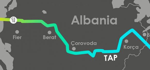 Маршрут МГП TAP на территории Албании