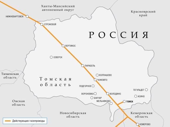 Схема магистральных газопроводов в Томской области