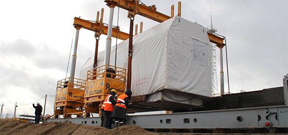 Установка ГТУ на фундамент на Талаховской ТЭС