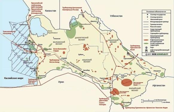 карта, месторождения, турменистан, нефть, газ
