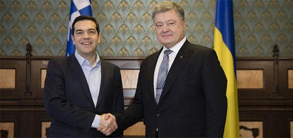 Премьер-министр Греции Алексис Ципрас и президент Украины Петр Порошенко