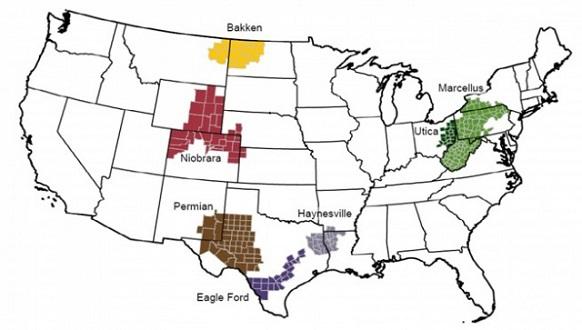 Месторождения сланцевой нефти в США