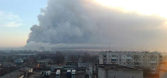 Пожар на военном складе в г Балаклея Харьковской области на Украине