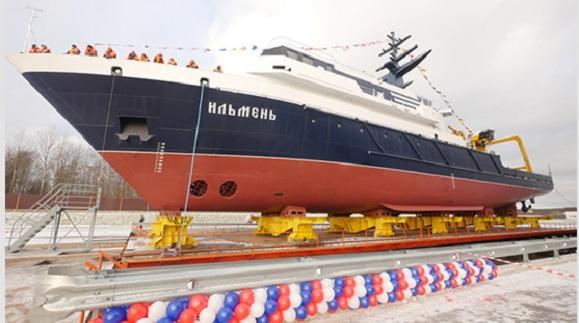 Судостроительный завод «Пелла» вПетербурге спустил наводу океанографическое судно «Ильмень»