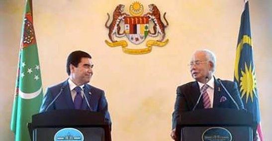 Президент Туркменистана Гурбангулы Бердымухамедовым и премьер-министр Малайзии Наджиб Разак