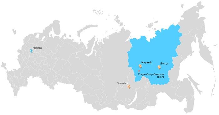 НГКМ на карте