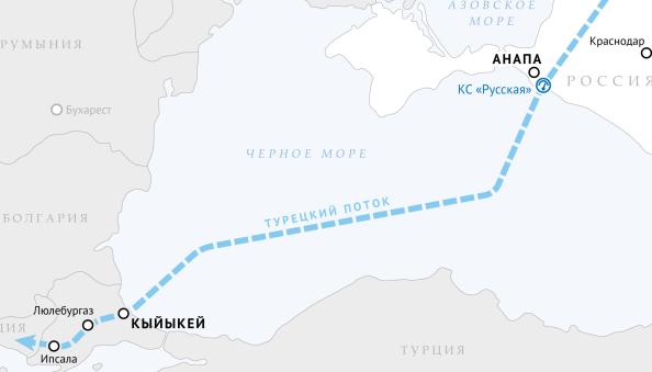 турецкий поток, карта, газопровод, МГП
