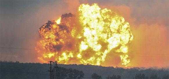 Пожар на военных складах на Украине. Остановлено газоснабжение 16 населенных пунктов, но транзит газа под контролем