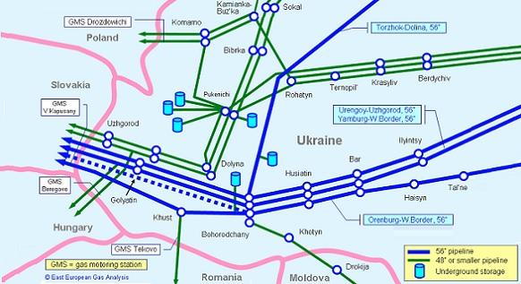 Украина увеличила реверс природного газа из Словакии  с середины сентября 2016 г