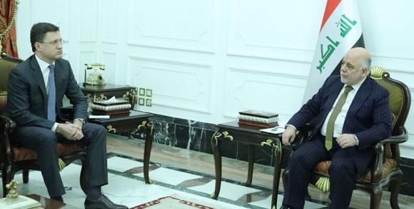 А. Новак и премьер-министр Ирака Х. Абади обсудили работу российских компаний в Ираке. Поговорили и о Роснефти и новом конкурсе по разработке месторождений