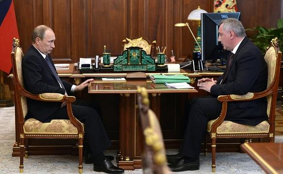Рабочая встреча В.Путина и Д. Рогозина по развитию двигателестроения