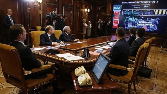 Событие года. Д. Медведев дистанционно запустил в работу 1-ю  очередь Якутской ГРЭС-2