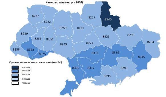 Укртрансгаз сообщил о калорийности использованного на Украине газа за август 2016 г