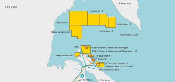 Роснефть осваивает шельф Сахалина. Начато промышленное освоение Лебединского месторождения, в планах - Северо-Венинское