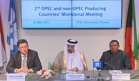 Договорились опять. Страны ОПЕК и не-ОПЕК в г Вене 25 мая 2017 г согласовали сокращение объемов добычи нефти на 9 месяцев