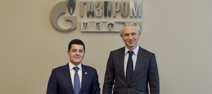 Губернатор ЯНАО Д. Артюхов и глава Газпром нефти А. Дюков обсудили планы развития компании в регионе