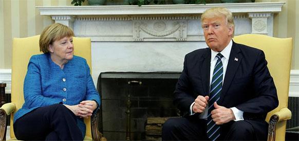 А. Меркель и Д. Трамп в краткой беседе так и не смогли придти к согласию. Печаль...