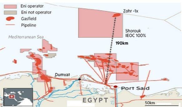 Eni открыла гигантское газовое месторождение на участке недр Zohr на шельфе Египта в Средиземном море