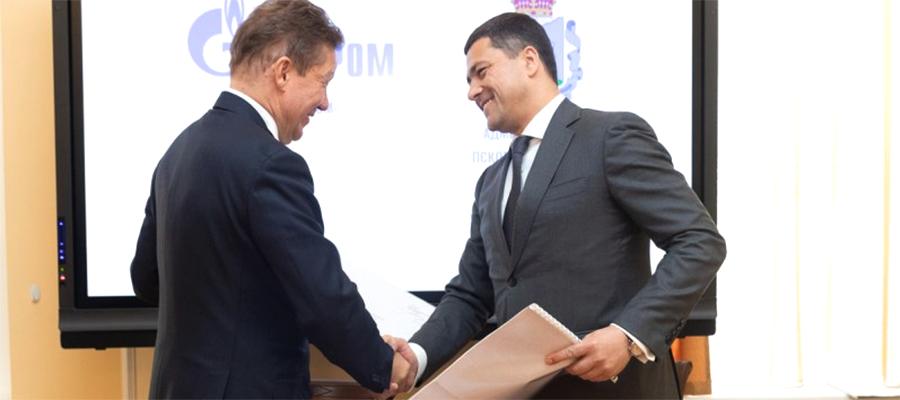 Глава Газпрома А. Миллер совершил рабочую поездку в Псковскую область. Подписаны важные документы