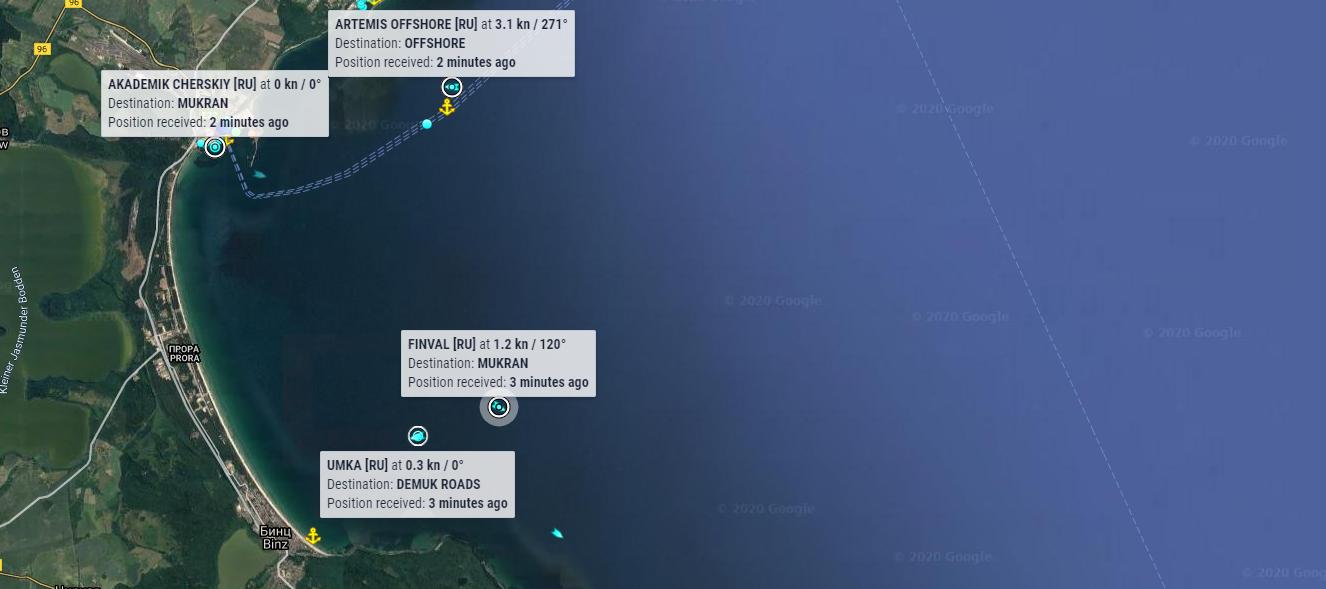 Умка, Artemis Offshore и Юрий Топчев идут в Мукран. Хроники МГП Северный поток-2 за 17 ноября 2020 г.