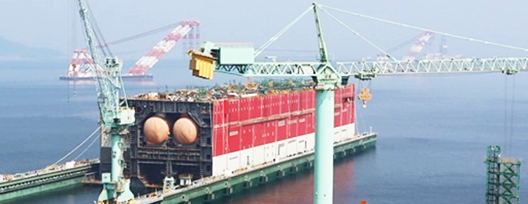 Корпус плавучего завода Prelude FLNG Shell по сжижению газа готов