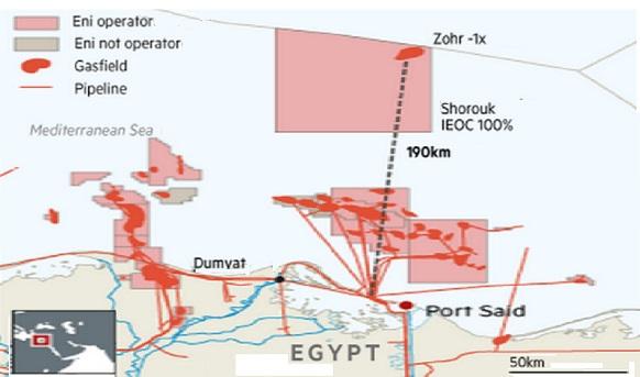 Роснефть подумывает приобрести долю участия 35% в морском блоке Шорук на шельфе Египта у Eni